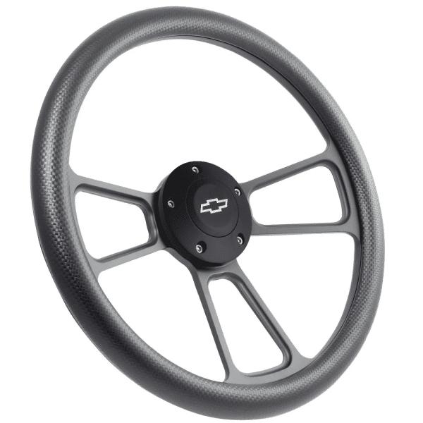 "14"" Black Billet Aluminum Steering Wheel - Aftermarket Half Wrap - Muscle Style"