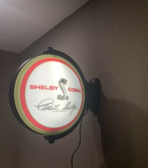 Cobra Emblem Carroll Shelby Signature Sign - Light Up Revolving Globe