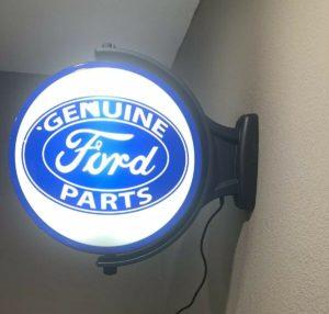 Ford Emblem Genuine Parts Sign - Light Up Revolving Globe