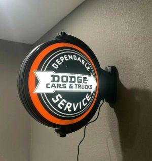 Dodge Cars & Trucks Dependable Service Sign - Light Up Revolving Globe