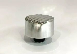 """Finned Aluminum Round Push In Valve Cover Breather, 1"""" Neck for 1-1/4"""" Hole"""