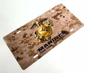 U.S. Marine Corps Steel Vanity License Plate - Tan Digital Camo