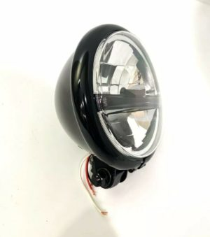 """Black Motorcycle Bottom Mount Housing with 8 LED Headlight - 5 3/4"""" Inch"""