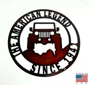 The American Legend Jeep Off Road Laser Cut Metal Sign (14'' Diameter)