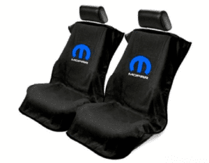 Pair 2 Universal Emblem Black Towel Protector Covers w/ Blue M - Licensed by Mopar