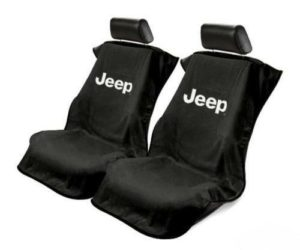 Pair of Black Universal Seat Armour Towel Covers for Jeep (Licensed)