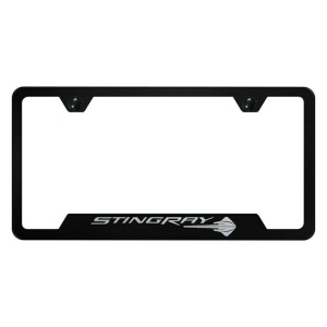 Corvette License Plate Frame - Black w/ C7 Stingray Emblem