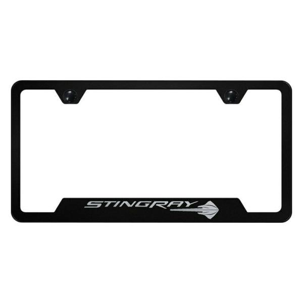 Corvette License Plate Frame - Black w/ C7 Stingray Emblem
