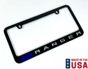 Ford Ranger Engraved Black Metal License Plate Frame - Blue Emblem & Silver Fill