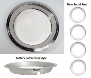 Set of 4 Beauty Rings w/ Factory Correct Clips for 14x6 GM Rally Wheels 1967-1969