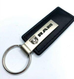 Dodge Ram Emblem Black Leather Key Chain - Licensed
