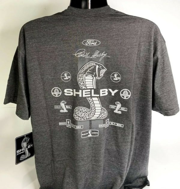 Shelby Cobra T Shirt - Gray w/ Signature Snake Emblems