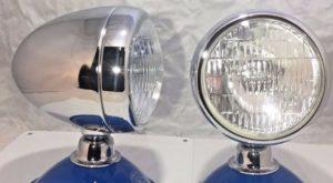 "Pair of Fog Lights - 12 Volt Bullet Style w/ 5"" Clear Lens & Chrome Teardrop Housing"