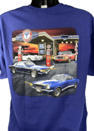 Ford Mustang T-Shirt - Blue w/ 1964-1968 Gas Station Scene