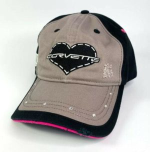 Chevy Corvette Script Emblem Ladies Hat - Heart w/ Gems On Bill - Weathered Style