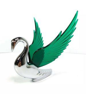 Chrome Swan / Bugler Hood Ornament - Green Wings Flying Windrider