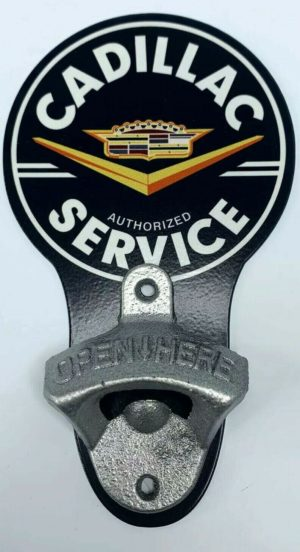 Vintage Style Cadillac Authorized Service Wall Mount Metal Bottle Opener Sign