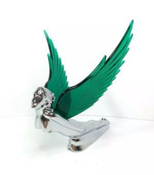 Flying Goddess Hood Ornament - Green Wings Flying Windrider