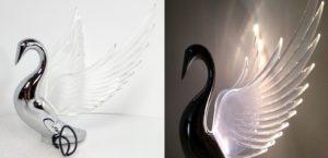 Chrome Swan / Bugler Hood Ornament - Clear Lighted Wings Flying Windrider