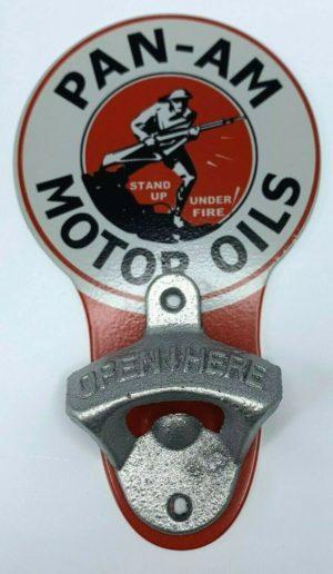 Vintage Style Pan - Am Motor Oils Wall Mount Metal Bottle Opener Sign