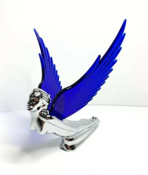 Flying Goddess Hood Ornament - Blue Wings Flying Windrider