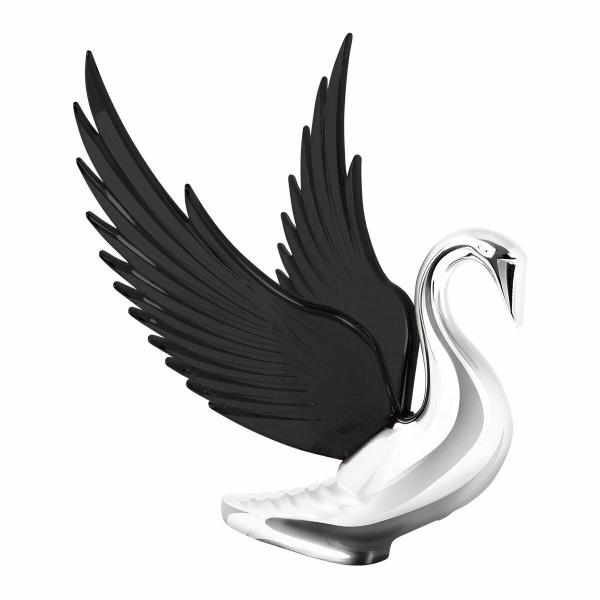 Chrome Swan / Bugler Hood Ornament - Black Wings Flying Windrider