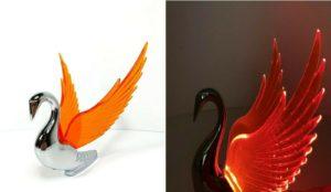 Chrome Swan / Bugler Hood Ornament - Amber Wings Flying Windrider