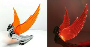 Flying Goddess Hood Ornament - Amber Wings Flying Windrider