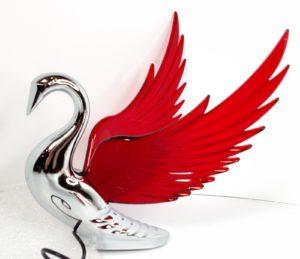 Chrome Swan / Bugler Hood Ornament - Red Lighted Wings Flying Windrider
