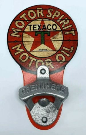 Vintage Style Texaco Motor Oil Wall Mount Metal Bottle Opener Sign