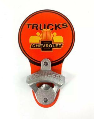 Vintage Style Chevrolet Trucks Grille Bowtie Wall Mount Metal Bottle Opener Sign