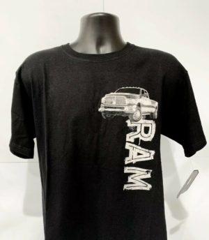 Dodge Ram Truck T-Shirt - Black w/ Ram Emblem / Logo - Licensed