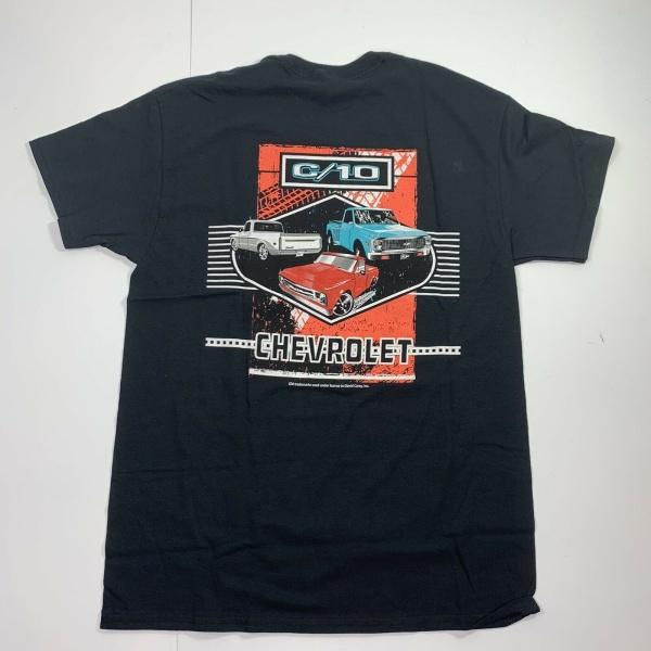 Chevrolet C10 T-Shirt - Black w/ Multiple Generations Pickup Trucks (Licensed)