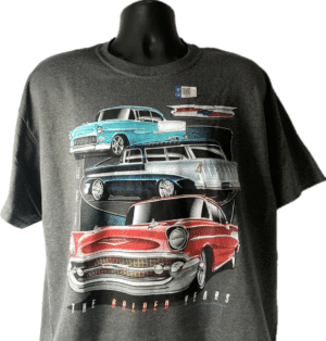 """Chevrolet Tri-5 T-Shirt Gray w/ Bel Air, 210, 150 """"The Golden Years"""""""