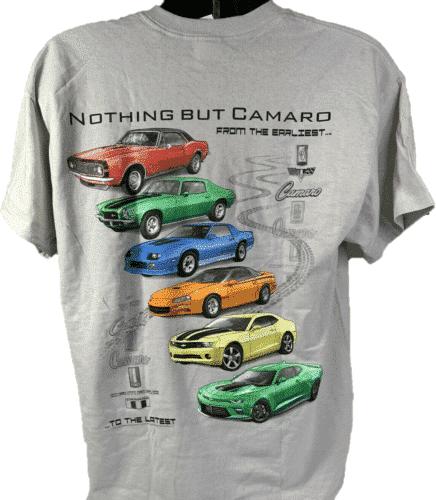 Chevy Camaro T-Shirt w/ Six Generations of Cars & Emblems - Light Gray