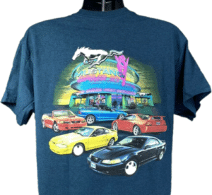 Ford Mustang T-Shirt - 1994-2004 4th Generation Drive In Scene - Midnight Blue