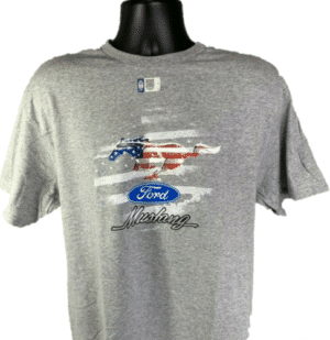 Ford Mustang T-Shirt W/ Patriotic Pony Emblem - Gray W/ Red White & Blue Logo