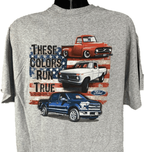 """Ford Trucks T-Shirt - Gray With """"These Colors Run True"""" American Flag 100 Anniversary Emblem"""