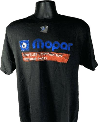 Mopar T-Shirt - Black w/ 1985-90 Chrysler Corporation Genuine Parts Logo / Emblem