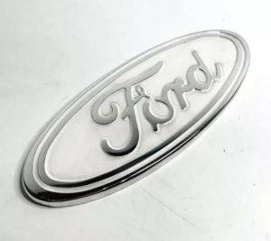 "Ford Grill Tailgate Oval Emblem - 9"" White & Chrome Premium Billet Aluminum"