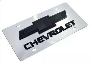 Chrome Chevy Bowtie Emblem License Plate w/ 3D Black Chevrolet Script Logo