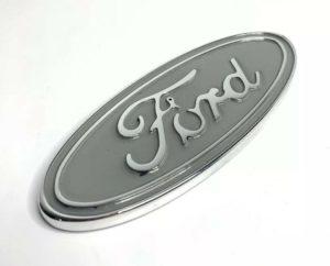"Ford Oval Tailgate Emblem - 5"" Premium Chrome & Silver Billet Aluminum"