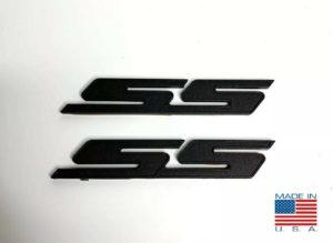 Pair of 2010-2018 Chevrolet Camaro SS Side Emblems -  Black Billet Aluminum