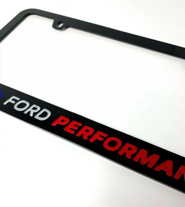 Ford Performance Black License Plate Frame w/ Logo & Script - Premium Engraved