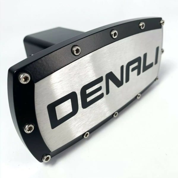 "GMC Denali 2"" Inch Hitch Cover Plug For Tow Receiver - Black Script w/ Outline"
