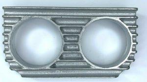 Finned Under Dash Double Gauge Panel - Unpolished Cast Aluminum