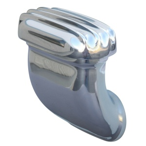 Finned Valve Cover Breather - Side Angled Style Cast Polished Aluminum