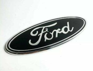 "Ford Grill Tailgate Oval Emblem - 9"" Black & Chrome Premium Billet Aluminum"