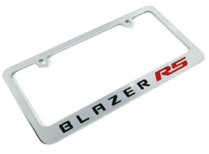 Chevy Blazer RS Chrome License Plate Frame - Premium Engraved Emblem