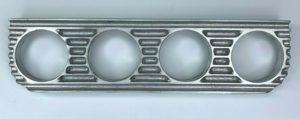 Finned Under Dash Quadruple Gauge Panel - Unpolished Cast Aluminum